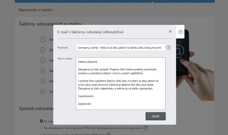 Upravenie šablóny e-mailu v iDoklade