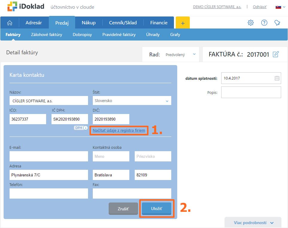 Načítanie údajov z registra firiem do iDokladu