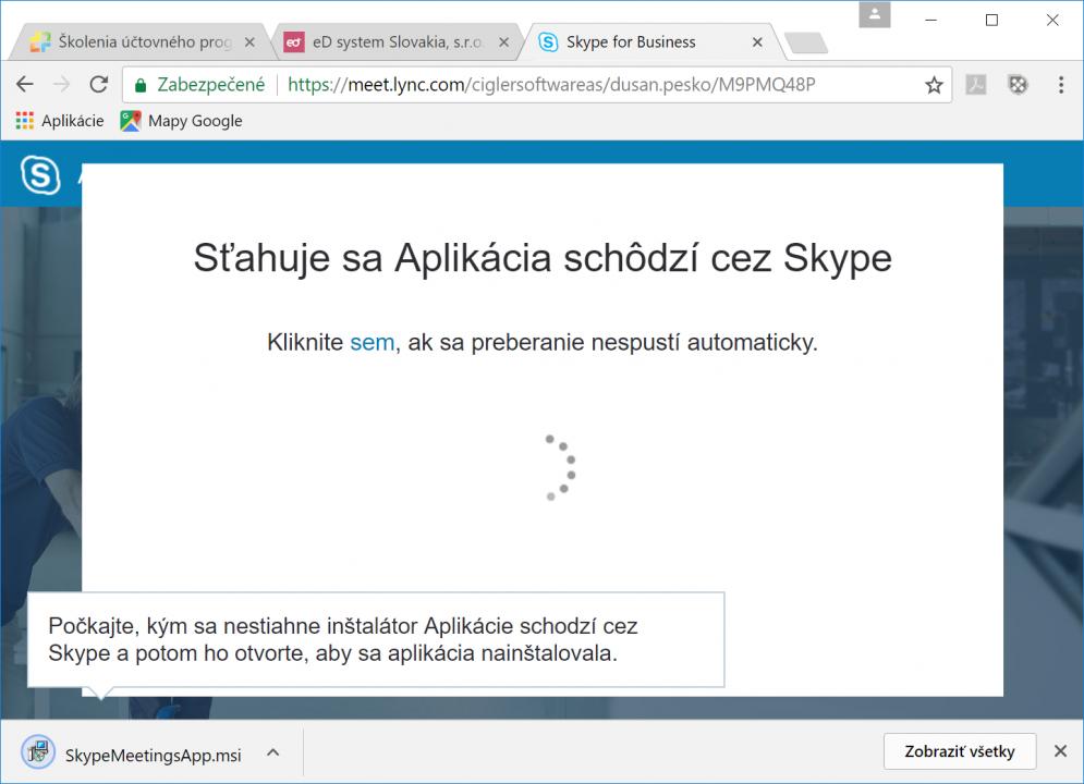 Stiahnutie Aplikácia schôdzí cez Skype