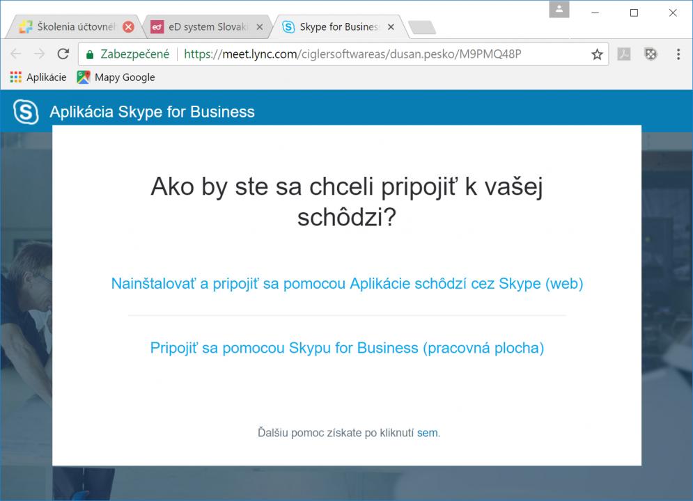 Možnosti pripojenia k webináru cez Skype