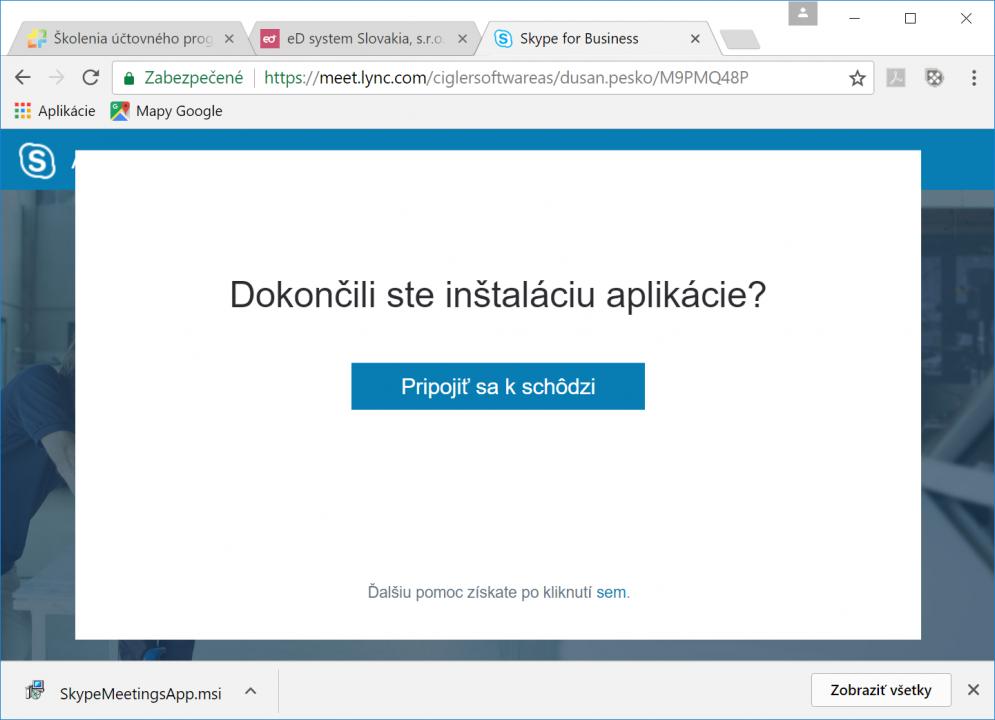Dokončenie inštalácie a pripojenie k webináru cez Skype