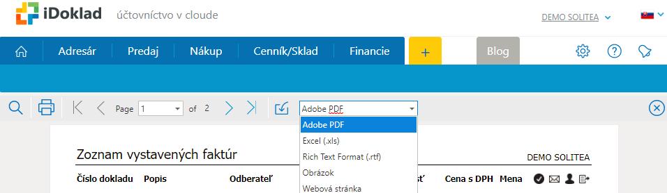 Zoznam faktúr vystavených za minulý rok z iDoklad.sk