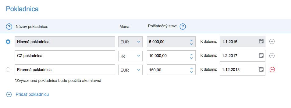 iDoklad - Nastavenie Pokladnica