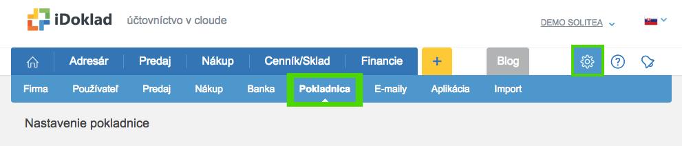 iDoklad - Nastavenie Pokladna